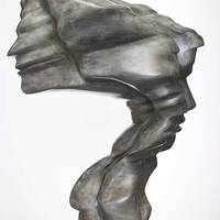 Big Head, 2008, bronze, grey patina, 101x47x65 cm