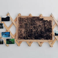 Tamás Kaszás, Sunday Trespasser (Homage to Mózes Murányi), wooden bulletin-board (190x59 cm), photos, lino-cut print on paper, 2008-16