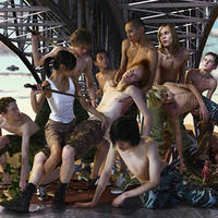AES+F, Last Riot 2: The Bridge, 2006, print on canvas, 170x210 cm